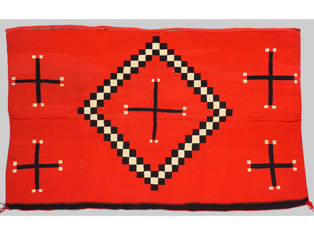 A Navajo Germantown rug fragment, 4ft 5in x 2ft 11in