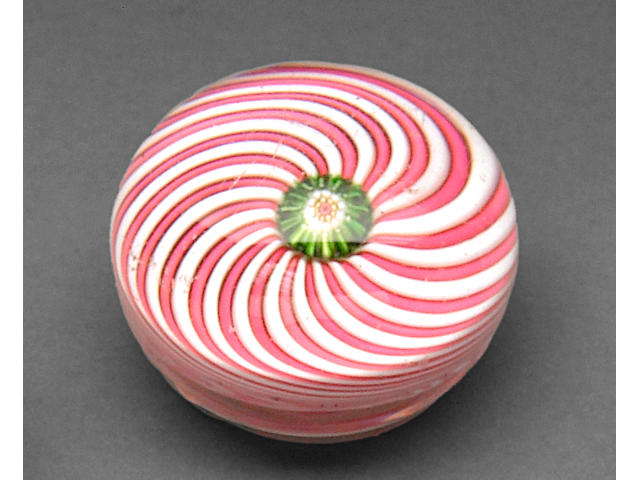 A Clichy pink and white swirl paperweight