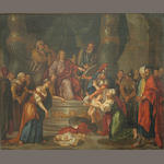 Flemish School c. 18th  The judgement of Solomon 23 1/4 x 29 1/2in