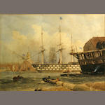 English School, 19th Century A ship of the line in a harbor  9 1/2 x 12 3/4in