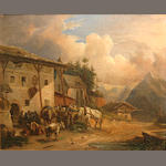 German School Travellers outside an inn in a Bavarian landscape; Workers resting near a field (a pair) 10 1/4 x 12 1/2in