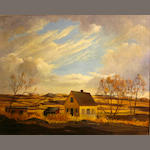 Hall Diteman (American 20th Century) Farmhouse on a prairie; Snow-covered hills (2) first 16 x 20in; second 20 x 24in