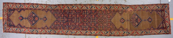 A Kurd Bidjar runner size approximately 18ft. 1in. x 3ft. 4in.