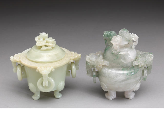 A group of two hardstone covered censers