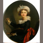 After Elisabeth Louise Vigée Le Brun Self-portrait oval  8 1/2 x 6 3/4in unframed