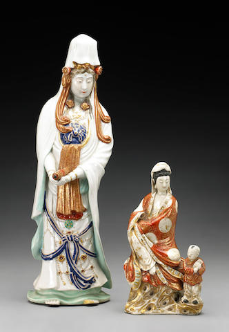 Two Kutani porcelain figures Meiji Period