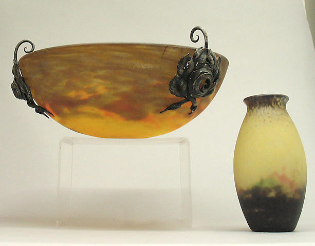 A Muller Fres Luneville art glass and wrought metal plafonnier and vase