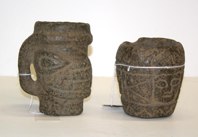 Two stone mortars carved in the Columbia River style