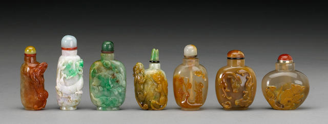A group of seven snuff bottles