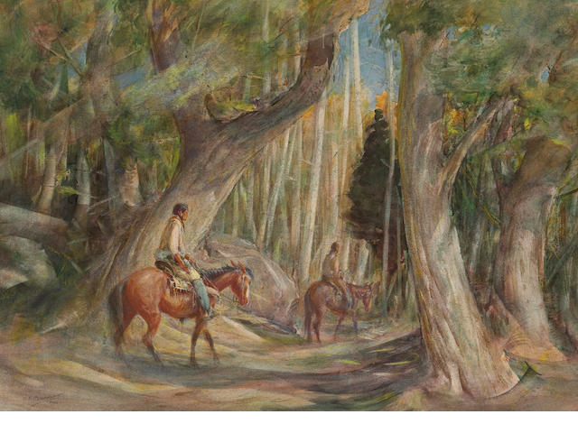 Oscar Edmund Berninghaus (American, 1874-1952) In the Forest of Pueblo Cañon 15 x 20in