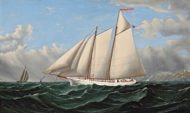 William Alexander Coulter (1849-1936) The Jennie Thelin off San Francisco Bay, 1873 24 x 40in