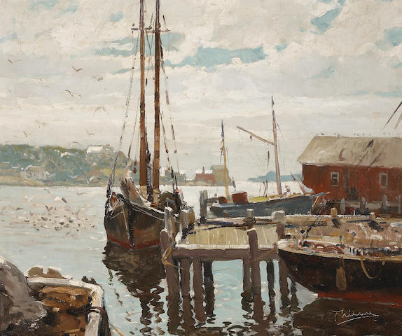 Anthony Thieme (American, 1888-1954) Gloucester Harbor 25 x 30in