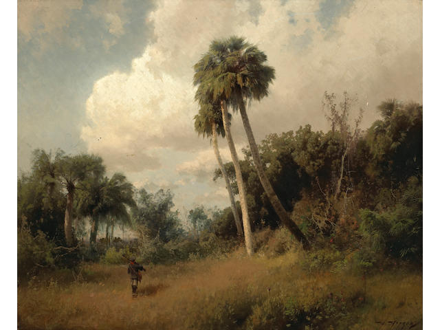 Herman Herzog (German, 1832-1932) A Hunter among Windswept Palms and Passing Clouds 22 x 27in