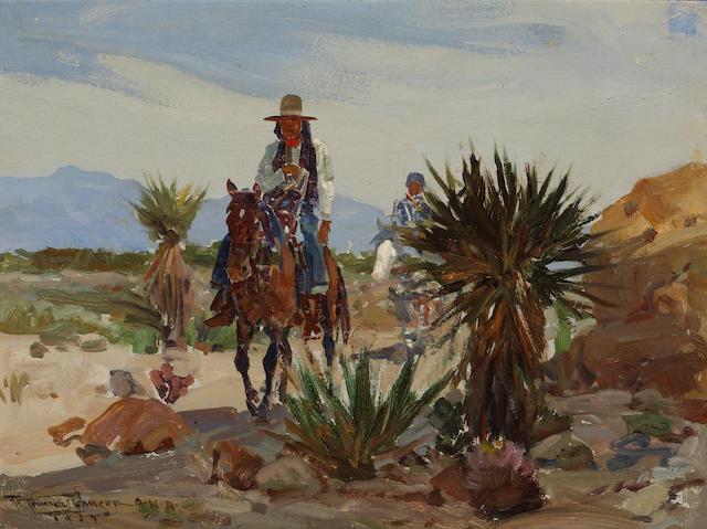 Frank Tenney Johnson (American, 1874-1939) Indians on Horseback, 1929 12 x 16in