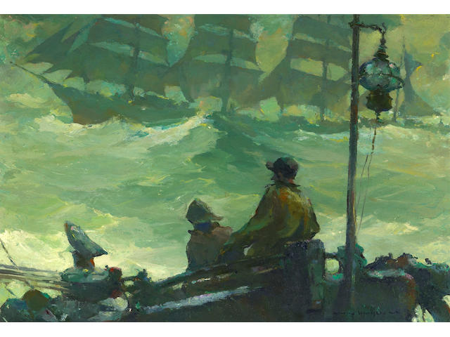 Armin Hansen (American, 1886-1957) Running Mates 13 3/4 x 20in