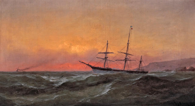 Gideon Jacques Denny (American, 1830-1886) Ship Sailing at Sunset, 1882 19 1/4 x 35in
