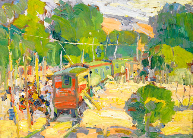 Selden Connor Gile (American, 1877-1947) Gypsy Train, circa 1935 11 3/4 x 16in