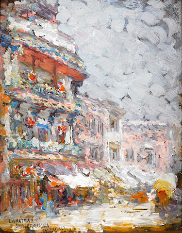 Joseph Raphael (American, 1869-1950) A Chinatown Gate and Pagoda, 1910; Chinatown, San Francisco, 1910 (2) each 7 1/4 x 5 3/4in