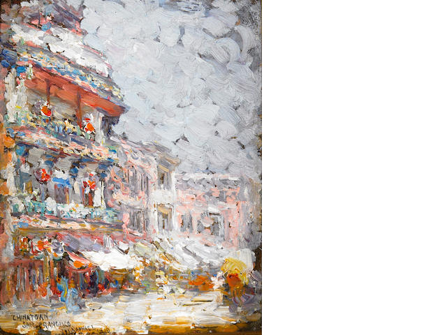 Joseph Raphael (American, 1869-1950) A Chinatown Gate and Pagoda, 1910; Chinatown, San Francisco, 19
