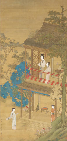 Attributed to Gu Jianlong (1606-after 1687) Ladies in Garden