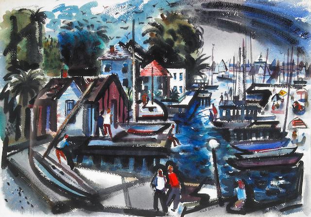 Phil Latimer Dike (American, 1906-1990) Balboa Island, 1948 15 1/2 x 22in