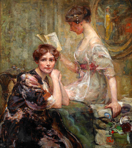 Colin Campbell Cooper (1856-1937) Two Women (in an Interior) 24 5/8 x 21 5/8in