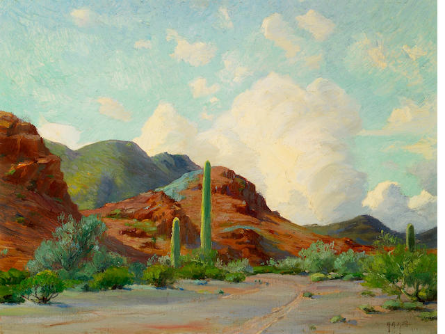 Anna Althea Hills (American, 1882-1930) The Copper Hills, 1914 14 x 18in