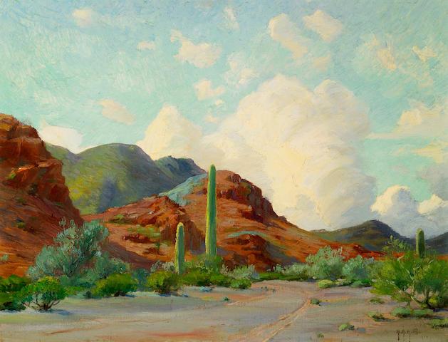 Anna Althea Hills (American, 1882-1930) The Copper Hills, 1914 14 x 18in