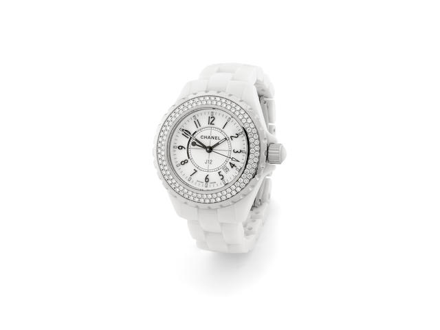 Chanel J12 model with double roll diamond bezel