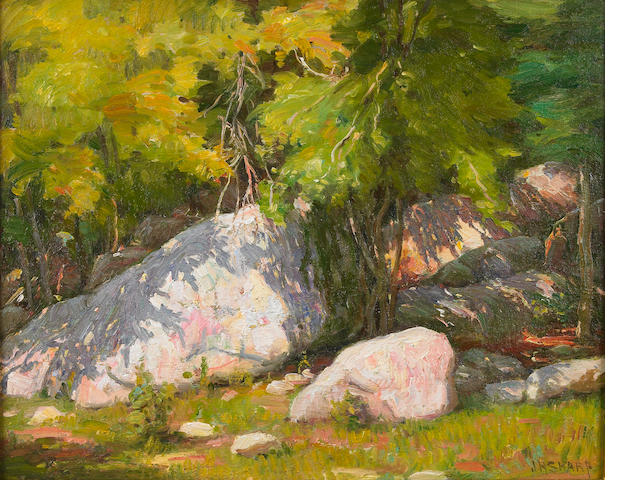 Joseph Henry Sharp (American, 1859-1953) Rocks, Hondo Canyon near Taos 16 x 20in