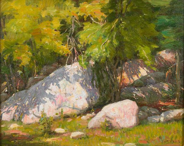 Joseph Henry Sharp (American, 1859-1953) Rocks, Hondo Canyon near Taos 16 x 20in