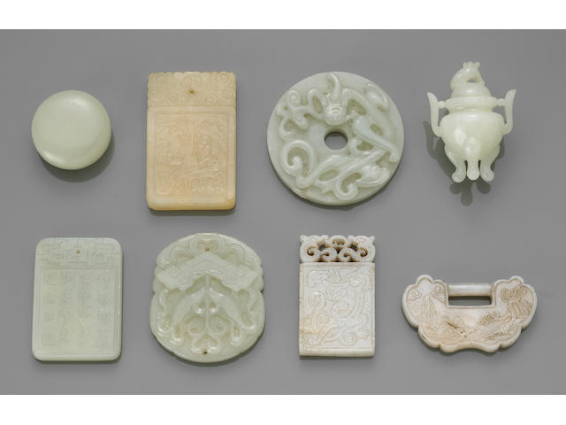 Group of ten miniature carved jade and jadeit decorations