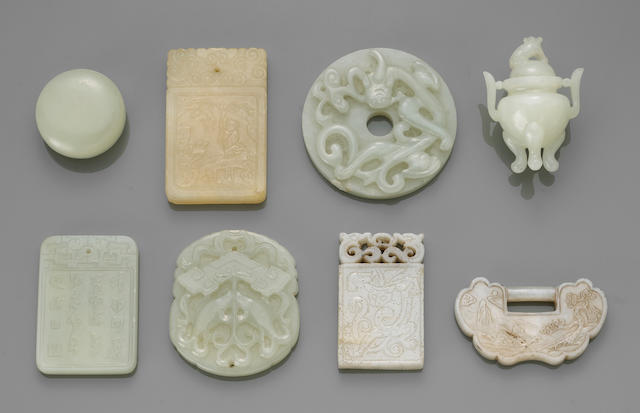 A group of ten miniature jade and simulated-jade decorations 20th Century