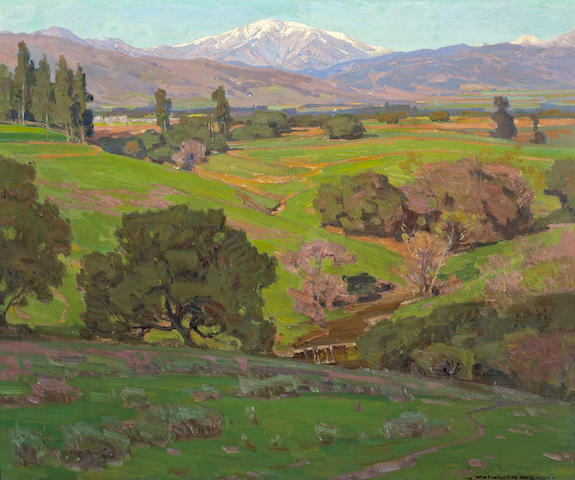 William Wendt (American, 1865-1946) Rolling Hills with a Snow-capped Mountains Beyond 25 x 30in