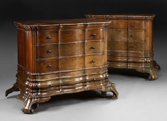 A rare and imposing pair of Cuban mahogany sacristy chests