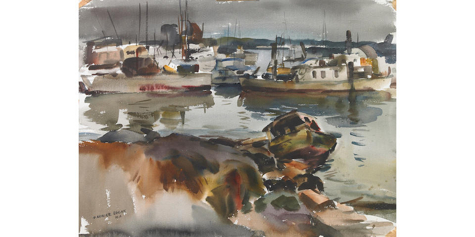 Maurice Logan (American, 1886-1977) Boats at Harbor; Ranch House (double-sided) 22 1/4 x 30 1/4in