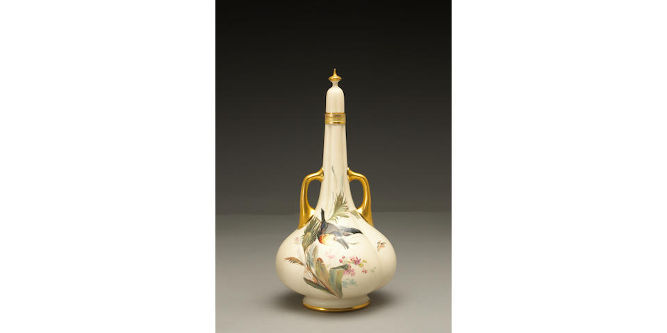 A Royal Worcester two-handled lobed vase and stopper