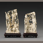 Two Chinese carved ivory figural group of immortals