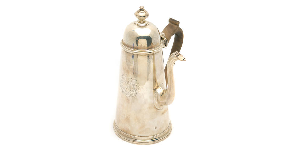 Queen Anne Silver and Wood Coffee Pot by Edward Yorke