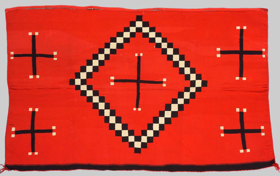 A Navajo Germantown rug fragment, 4ft 5in x 2ft 11in