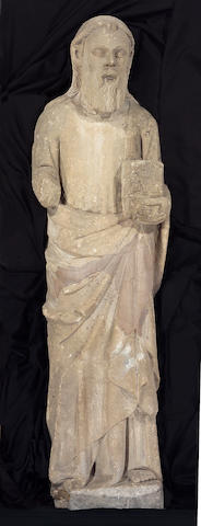 A French Gothic limestone figure of Saint Andrew