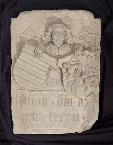 An Italian Renaissance carved limestone armorial plaque