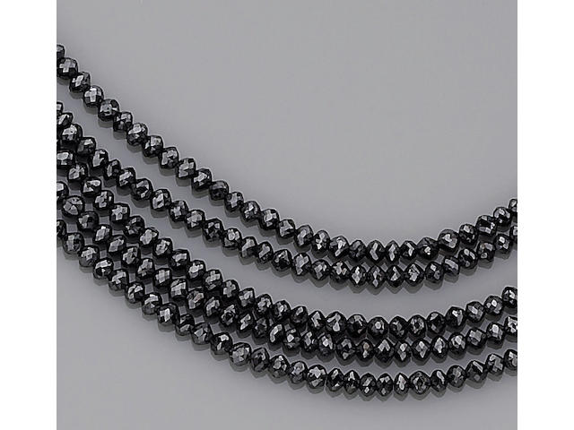 A black diamond and diamond multi-strand necklace