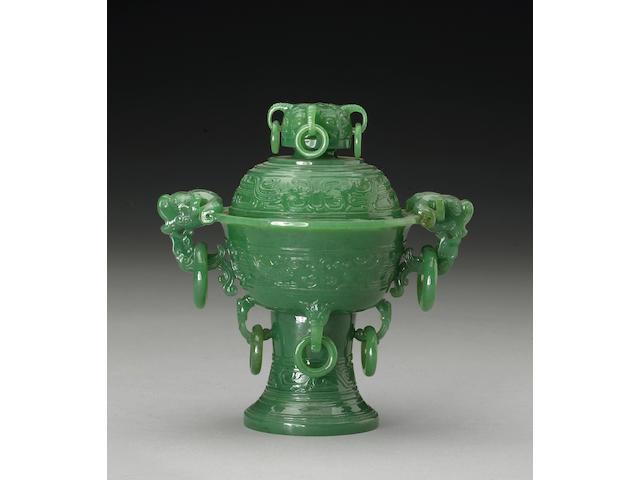 A green hardstone covered censer