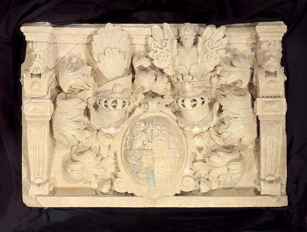A German early Baroque carved stone armorial escutcheon