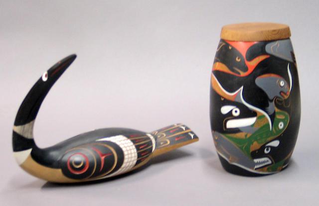 Two Coast Salish carvings, 'Ty-ee' Floyd Joseph