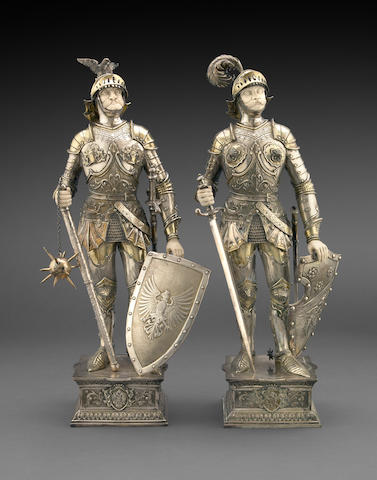 German Sterling Parcel-Gilt and Ivory Pair of Knight Figures Retailed by I. Freeman & Son, Ltd.
