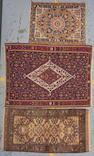 An Afghan rug size approximately 5ft. x 2ft. 8in, 3ft. 10in. x 5ft. 3in, 2ft. 6in. x 3ft. 5in.