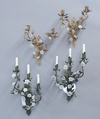 Two Rococo style pairs of tôle and porcelain bras de lumière