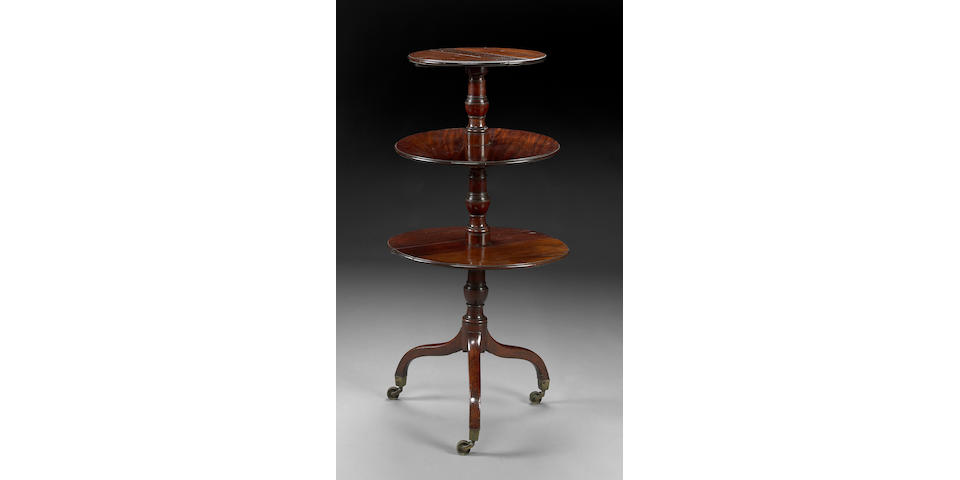 A George III mahogany three tier dumbwaiter